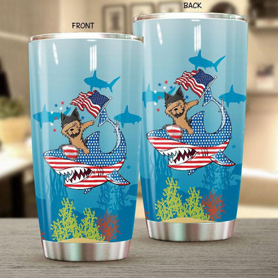 BigProStore Dabbing Yorkshire terrier Rides Shark Tumbler Father's Day Mother's Day Independence Day Gift Idea BPS109 White / 20oz Steel Tumbler