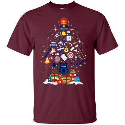 BigProStore Police T-Shirt Christmas Tree Decoration Law Enforcement Cop Tee Gift G200 Gildan Ultra Cotton T-Shirt / Maroon / S T-shirt