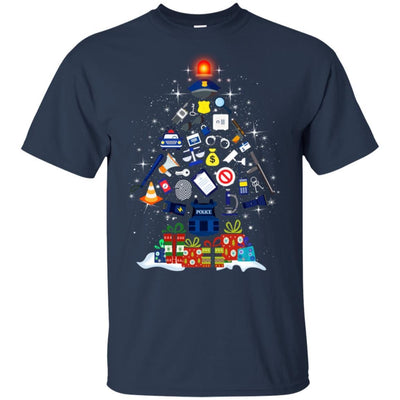 BigProStore Police T-Shirt Christmas Tree Decoration Law Enforcement Cop Tee Gift G200 Gildan Ultra Cotton T-Shirt / Navy / S T-shirt