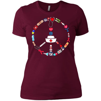 BigProStore Nurse Peace Day Cute Nursing Symbol Device T-Shirt Design Fashion Tee NL3900 Next Level Ladies' Boyfriend T-Shirt / Maroon / X-Small T-shirt