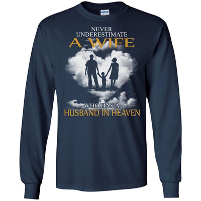 BigProStore My Husband Is In Heaven T-Shirt I Love You Special Father's Day Gift G240 Gildan LS Ultra Cotton T-Shirt / Navy / S T-shirt
