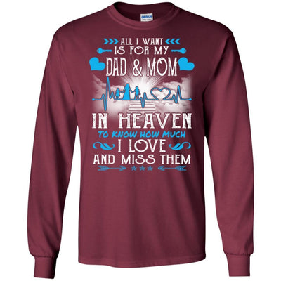 BigProStore I Love My Dad And Mom In Heaven Missing T-Shirt Father's Day Gift Idea G240 Gildan LS Ultra Cotton T-Shirt / Maroon / S T-shirt