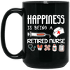 BigProStore Nurse Mug Happiness Is Being A Retired Nurse Gifts BM15OZ 15 oz. Black Mug / Black / One Size Coffee Mug