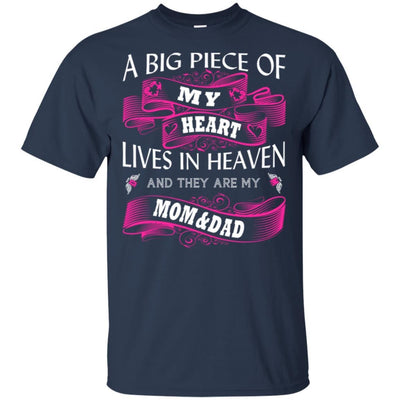 BigProStore A Big Piece Of My Heart Lives In Heaven Is My Angel Dad Mom T-Shirt G200 Gildan Ultra Cotton T-Shirt / Navy / S T-shirt