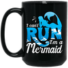 BigProStore Mermaid Coffee Mug I Can't Run I'm A Mermaid With The Blue  Waves Ocean BM15OZ 15 oz. Black Mug / Black / One Size Coffee Mug