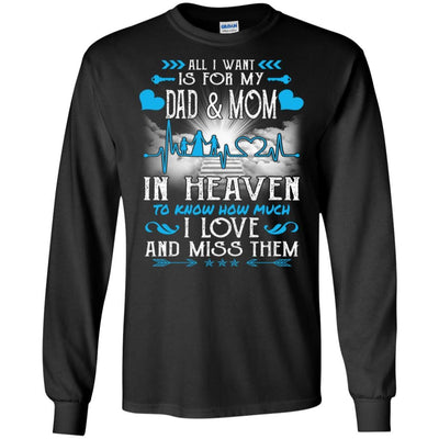 BigProStore I Love My Dad And Mom In Heaven Missing T-Shirt Father's Day Gift Idea G240 Gildan LS Ultra Cotton T-Shirt / Black / S T-shirt