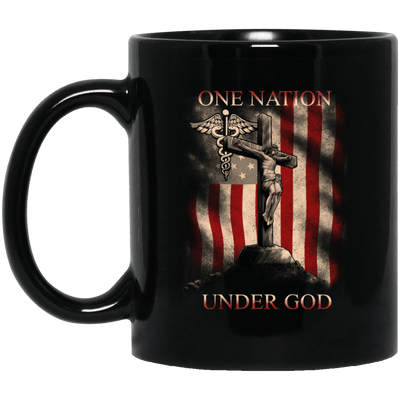 BigProStore Nurse Mug One Nation Under God America Flag Cool Nursing Gifts BM11OZ 11 oz. Black Mug / Black / One Size Coffee Mug
