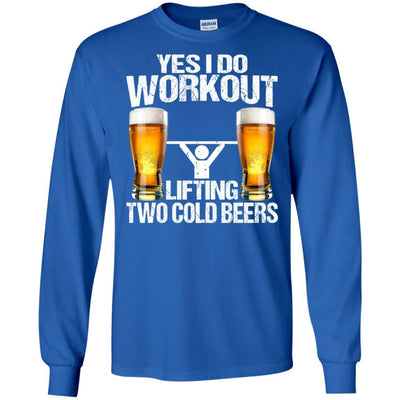 BigProStore Yes I Do Workout Lifting Two Cold Beers T-Shirt Funny Beer Lover Shirt G240 Gildan LS Ultra Cotton T-Shirt / Royal / S T-shirt