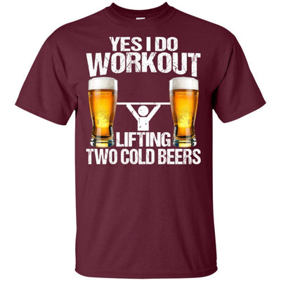 BigProStore Yes I Do Workout Lifting Two Cold Beers T-Shirt Funny Beer Lover Shirt G200 Gildan Ultra Cotton T-Shirt / Maroon / S T-shirt