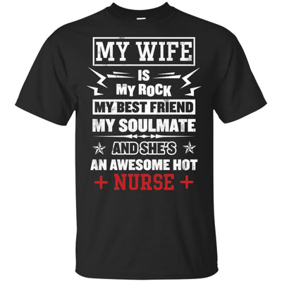 BigProStore My Wife Is An Awesome Hot Nurse Cute Nursing Shirt Funny Quote Design G200 Gildan Ultra Cotton T-Shirt / Black / S T-shirt