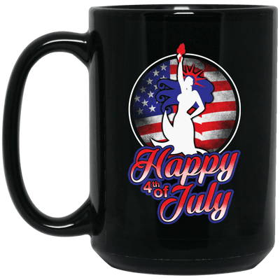 BigProStore Happy 4Th Of July Mermaid Coffee Mug Cool Independence Day Gift BM15OZ 15 oz. Black Mug / Black / One Size Coffee Mug