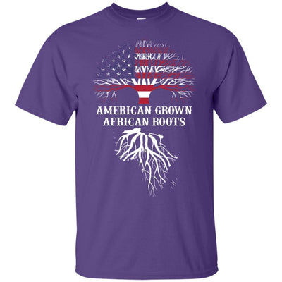 BigProStore American Grown African Roots T-Shirt Afro African American Graphic Tee G200 Gildan Ultra Cotton T-Shirt / Purple / S T-shirt