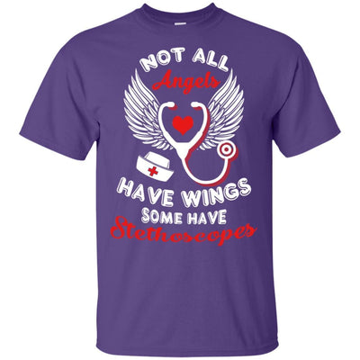 BigProStore Not All Angels Have Wings Some Have Stethoscopes Funny Nurse T-Shirt G200 Gildan Ultra Cotton T-Shirt / Purple / S T-shirt