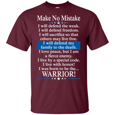BigProStore Police Officer T-Shirt Make No Mistake Thin Blue Line Cop Tee Gift G200 Gildan Ultra Cotton T-Shirt / Maroon / S T-shirt