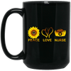 BigProStore Peace Love Nurse Mug Cool Gifts For Nurses Nursing Students BM15OZ 15 oz. Black Mug / Black / One Size Coffee Mug