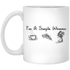 BigProStore Mermaid Mug I'm A Simple Woman Love Coffee Pizza Mermaid Coffee Cup XP8434 11 oz. White Mug / White / One Size Coffee Mug