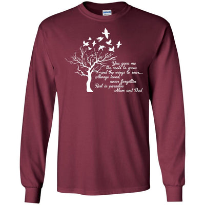 BigProStore I Miss My  Mom and Dad T-shirt Love Daddy Mommy in Heaven Gift Idea G240 Gildan LS Ultra Cotton T-Shirt / Maroon / S T-shirt