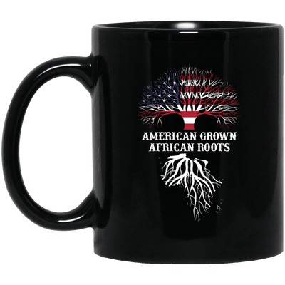 BigProStore American Grown African Roots Coffee Mug African American Graphic Cup BM11OZ 11 oz. Black Mug / Black / One Size Coffee Mug