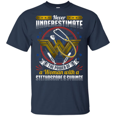 BigProStore Never Underestimate A Woman With A Stethoscope Syringe Nursing Shirt G200 Gildan Ultra Cotton T-Shirt / Navy / S T-shirt