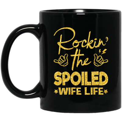 BigProStore Rockin The Spoiled Wife Life Mug Afro Girl Rock Pro African Coffee Cup BM11OZ 11 oz. Black Mug / Black / One Size Coffee Mug