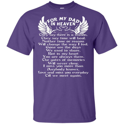 BigProStore For My Dad In Heaven Father's Day Gift Idea I Love You Daddy T-Shirt G200 Gildan Ultra Cotton T-Shirt / Purple / S T-shirt