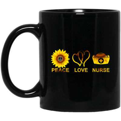 BigProStore Peace Love Nurse Mug Cool Gifts For Nurses Nursing Students BM11OZ 11 oz. Black Mug / Black / One Size Coffee Mug
