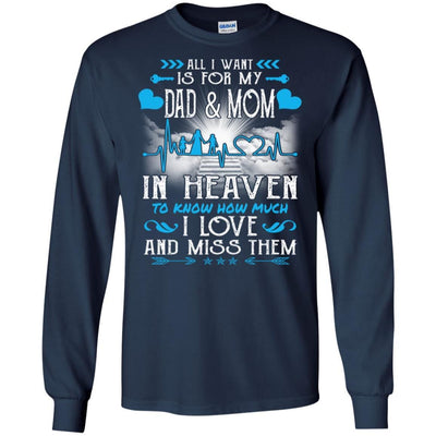 BigProStore I Love My Dad And Mom In Heaven Missing T-Shirt Father's Day Gift Idea G240 Gildan LS Ultra Cotton T-Shirt / Navy / S T-shirt