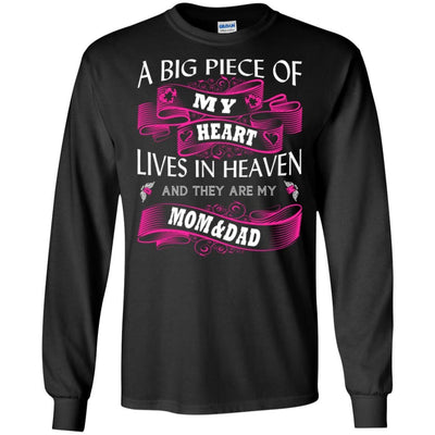 BigProStore A Big Piece Of My Heart Lives In Heaven Is My Angel Dad Mom T-Shirt G240 Gildan LS Ultra Cotton T-Shirt / Black / S T-shirt