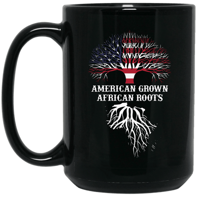BigProStore American Grown African Roots Coffee Mug African American Graphic Cup BM15OZ 15 oz. Black Mug / Black / One Size Coffee Mug