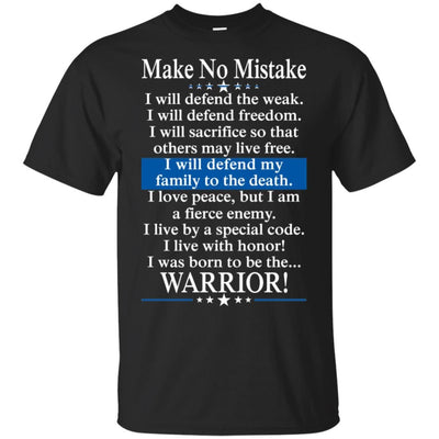 BigProStore Police Officer T-Shirt Make No Mistake Thin Blue Line Cop Tee Gift G200 Gildan Ultra Cotton T-Shirt / Black / S T-shirt