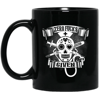 BigProStore Nurse Mug Zero Fucks Given Cool Nurses Nursing Students Gift Idea BM11OZ 11 oz. Black Mug / Black / One Size Coffee Mug