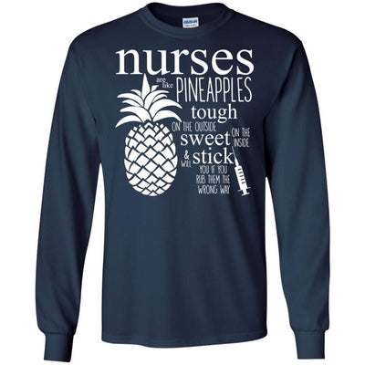 BigProStore Nurse Are Like Pineapples Cute Nursing T-Shirt Funny Quote Tee Design G240 Gildan LS Ultra Cotton T-Shirt / Navy / S T-shirt