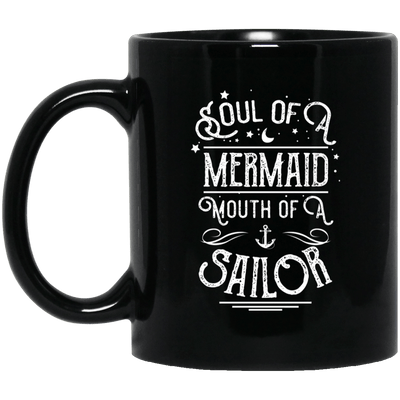 BigProStore Mermaid Mug Soul Of A Mermaid Mouth Of A Sailor Gift For Girls BM11OZ 11 oz. Black Mug / Black / One Size Coffee Mug