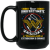 BigProStore Nurse Mug Never Underestimate The Power Of A Woman With A Stethoscope BM15OZ 15 oz. Black Mug / Black / One Size Coffee Mug