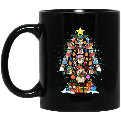 BigProStore Pug Mug Christmas Tree Pug Gifts For Puggy Puppies Lover BM11OZ 11 oz. Black Mug / Black / One Size Coffee Mug