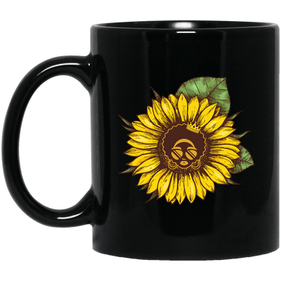 BigProStore Sunflower African American Coffee Mug Melanin Women Afro Girl Pride Cup BM11OZ 11 oz. Black Mug / Black / One Size Coffee Mug