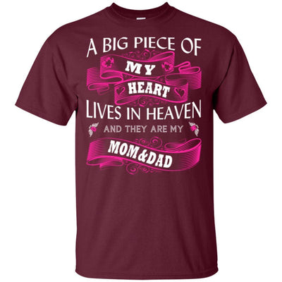 BigProStore A Big Piece Of My Heart Lives In Heaven Is My Angel Dad Mom T-Shirt G200 Gildan Ultra Cotton T-Shirt / Maroon / S T-shirt