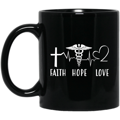 BigProStore Nurse Mug Faith Hope Love Heartbeat Nurses Week Gifts Idea BM11OZ 11 oz. Black Mug / Black / One Size Coffee Mug