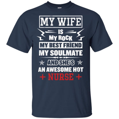 BigProStore My Wife Is An Awesome Hot Nurse Cute Nursing Shirt Funny Quote Design G200 Gildan Ultra Cotton T-Shirt / Navy / S T-shirt