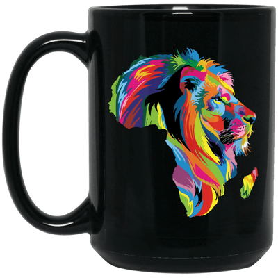 BigProStore Colorful Lion Coffee Mug African American Melanin Women Men Cup Design BM15OZ 15 oz. Black Mug / Black / One Size Coffee Mug