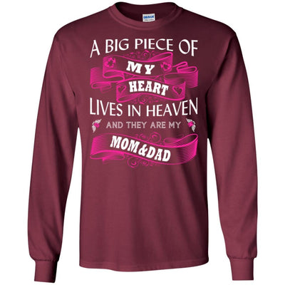 BigProStore A Big Piece Of My Heart Lives In Heaven Is My Angel Dad Mom T-Shirt G240 Gildan LS Ultra Cotton T-Shirt / Maroon / S T-shirt