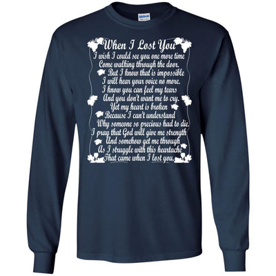 BigProStore When I Lost You T-Shirt Happy Fathers Day In Heaven Daddy Cool Gift G240 Gildan LS Ultra Cotton T-Shirt / Navy / S T-shirt