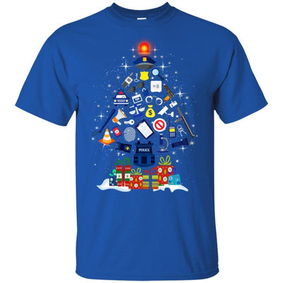 BigProStore Police T-Shirt Christmas Tree Decoration Law Enforcement Cop Tee Gift G200 Gildan Ultra Cotton T-Shirt / Royal / S T-shirt