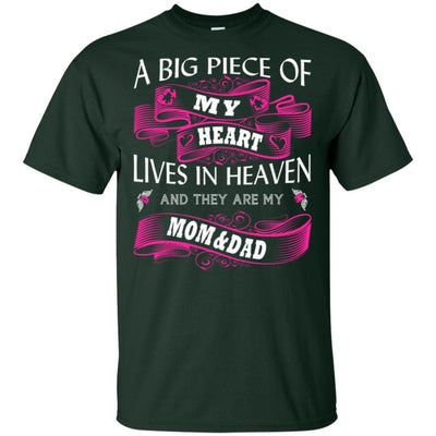 BigProStore A Big Piece Of My Heart Lives In Heaven Is My Angel Dad Mom T-Shirt G200 Gildan Ultra Cotton T-Shirt / Forest / S T-shirt