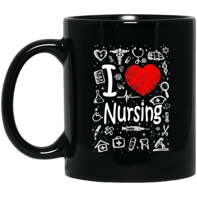 BigProStore Nurse Mug I Love Nursing Heart Heartbeat Cool Nursing Gifts BM11OZ 11 oz. Black Mug / Black / One Size Coffee Mug