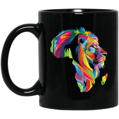 BigProStore Colorful Lion Coffee Mug African American Melanin Women Men Cup Design BM11OZ 11 oz. Black Mug / Black / One Size Coffee Mug