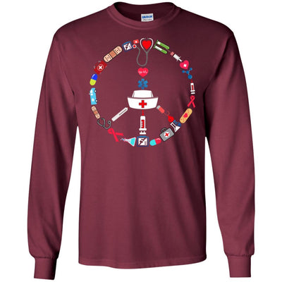 BigProStore Nurse Peace Day Cute Nursing Symbol Device T-Shirt Design Fashion Tee G240 Gildan LS Ultra Cotton T-Shirt / Maroon / S T-shirt