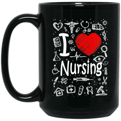 BigProStore Nurse Mug I Love Nursing Heart Heartbeat Cool Nursing Gifts BM15OZ 15 oz. Black Mug / Black / One Size Coffee Mug