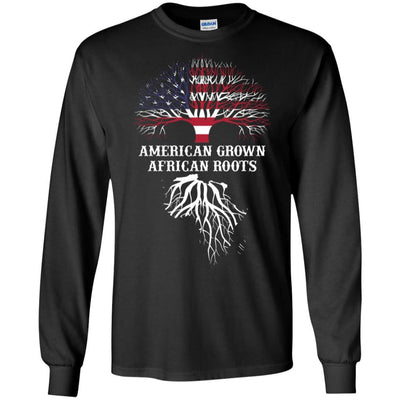 BigProStore American Grown African Roots T-Shirt Afro African American Graphic Tee G240 Gildan LS Ultra Cotton T-Shirt / Black / S T-shirt