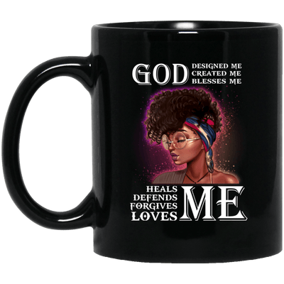 BigProStore God Designed Created Blesses Heals Defend Forgives Loves Pro Black Mug BM11OZ 11 oz. Black Mug / Black / One Size Coffee Mug